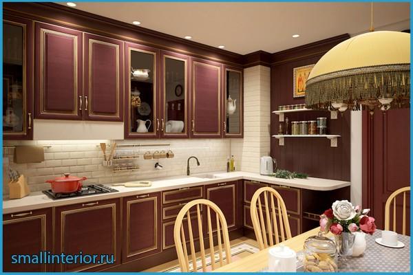 бежевый и бордовый на кухне