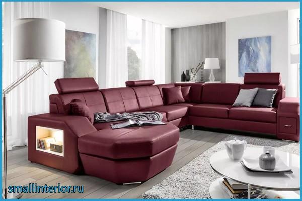 бордовый мягкий уголок в гостиной