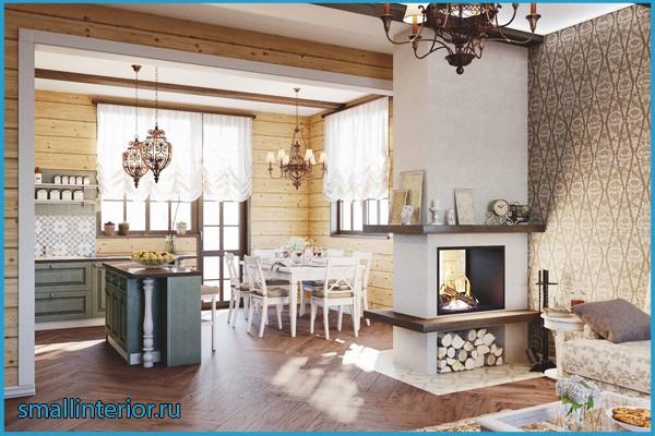 дизайн кухни с камином в квартире фото