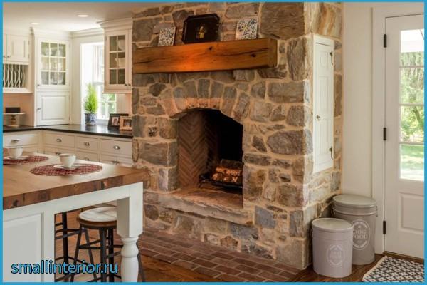 кухня гостиная с камином дизайн