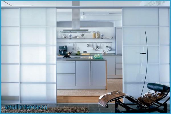 раздвижная перегородка между кухней и гостиной