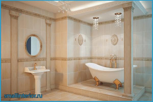 Бежевая ванная в классическом стиле 2