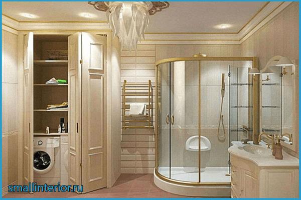Бежевая ванная в классическом стиле