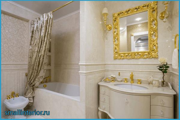 Декор шторкой в ванной классического стиля