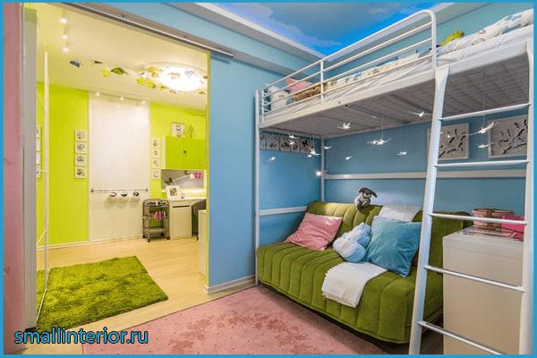 Детская зона в однокомнатной квартире 4