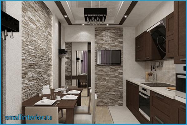 Кухня в коридоре в одном стиле 2
