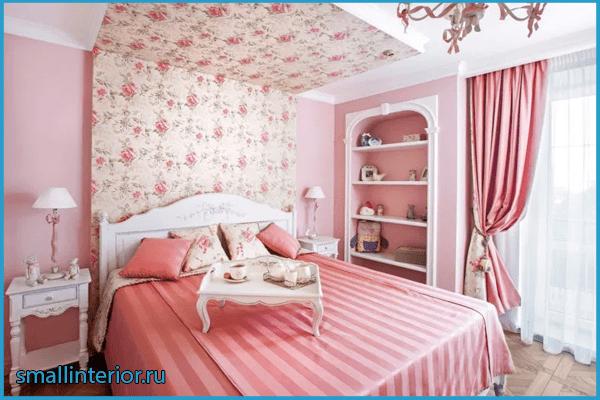 Нежно-розовая спальня