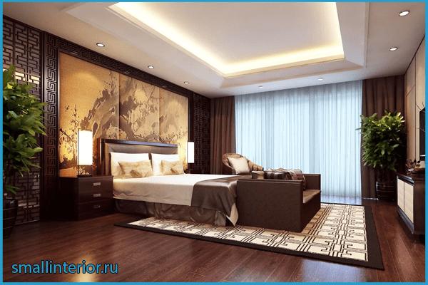 Оформление пола в коричневой спальне