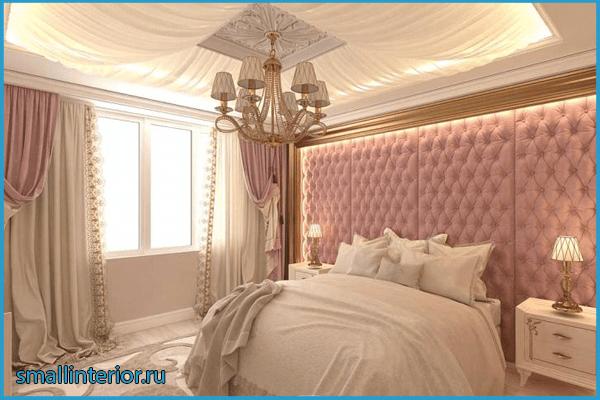 Оформление потолка в нежно-розовой спальне 2