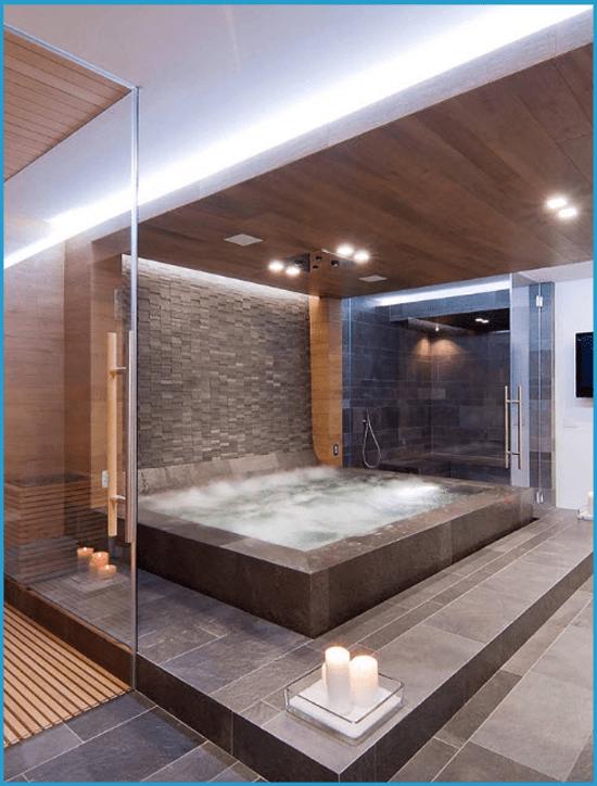 Роскошная ванная комната с джакузи