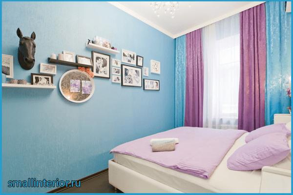 Сиренево-голубая спальня