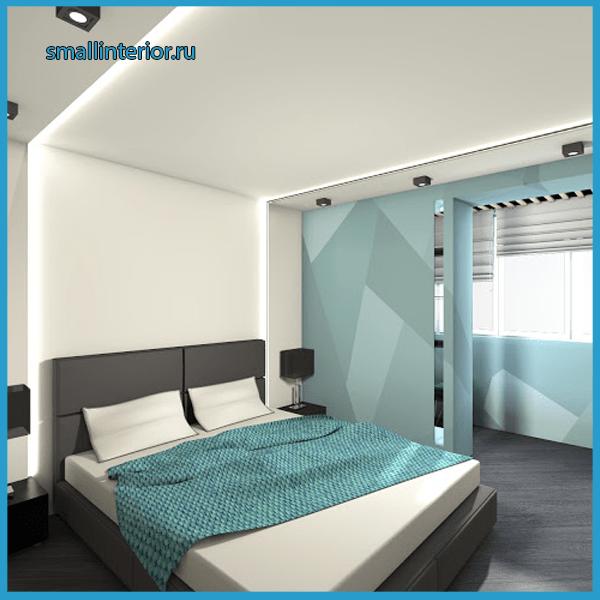 Спальня с балконом минимализм