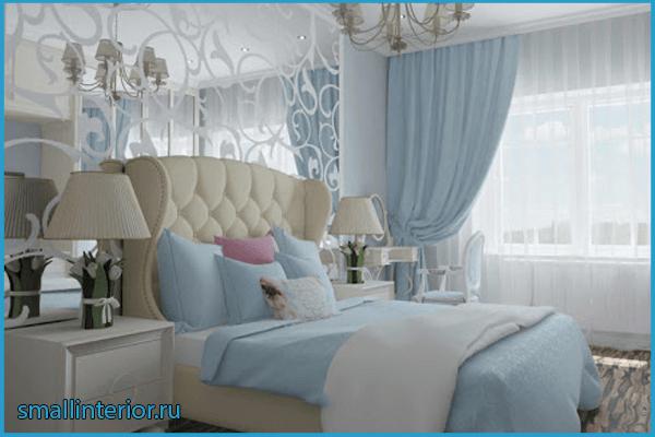 Светлая голубая спальня