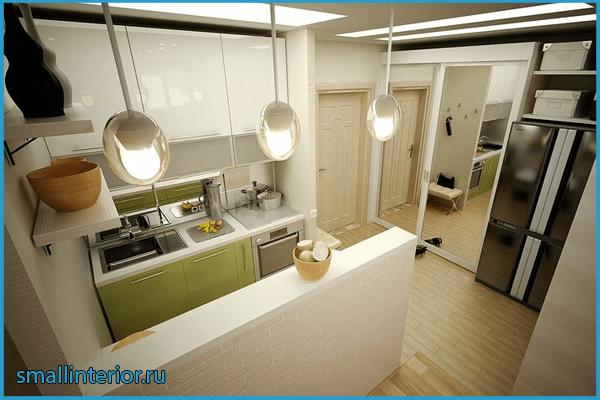 Светлая кухня в коридоре 2