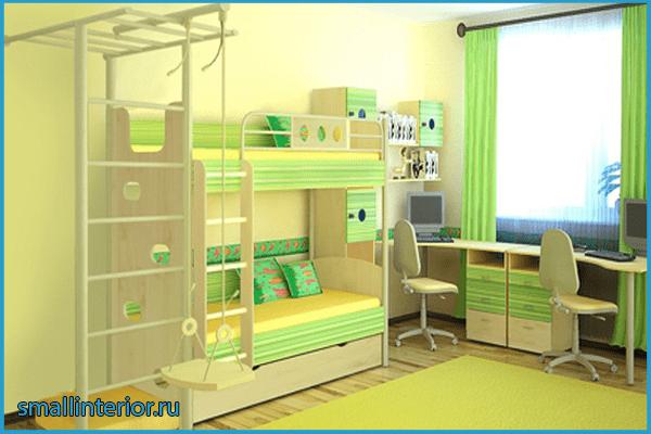 Зеленая детская для двоих детей