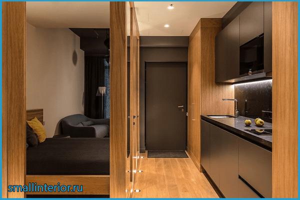 Зонирование кухни в коридоре