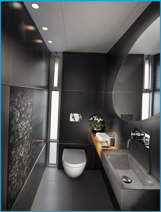 Ванная комната в темных тонах